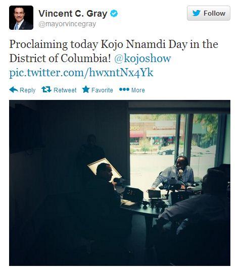"DC Mayor Vincent Gray proclaims today ""Kojo Nnamdi Day"" on the WAMU radio host's program."