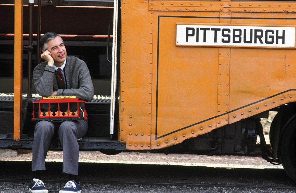 Mister Rogers sits on a Pittsburgh bus. Photo: CPB