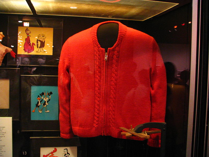 Hand-made sweater worn by Fred Rogers, on display in the Smithsonian Institution's Museum of American History. Photo credit: Flickr user: Rudi Riet, not affiliated with Protect My Public Media.