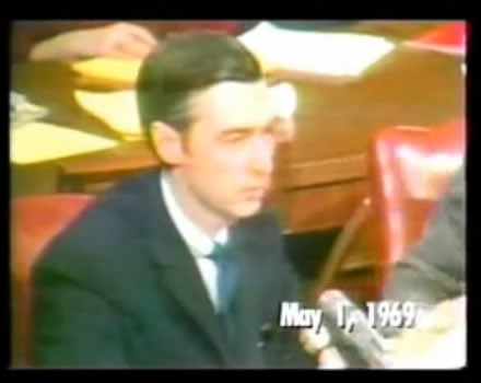 Fred Rogers testifies before the U.S. Senate on May 1, 1969.