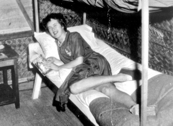 Julia McWilliams, who later became Julia Child, in her OSS quarters in Ceylon in 1944