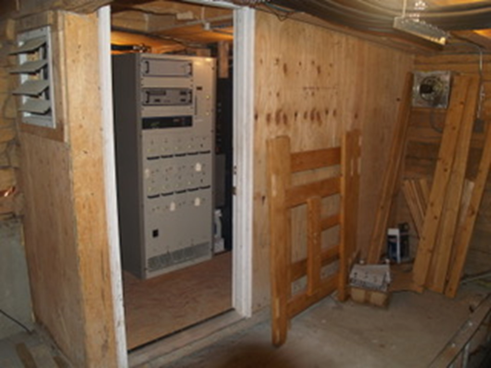 A 19-year-old transmitter in a site tucked into a tiny room under a ski lift, reliant on unfiltered outside air for cooling. Should the transmitter site fail, 32,000 rural area residents would lose their only local radio news service.